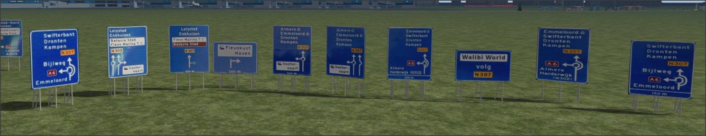 Borden voor de N50 langs het spoor Zwolle-Lelystad Low Texture Versie 1.0